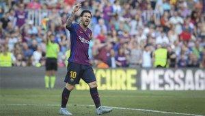 Messi, en un lance del partido