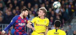 Messi, en una acción del FC Barcelona - Borussia Dortmund (3-1). El equipo azulgrana logró la victoria 99 como local en Champions League