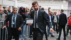 Piqué, en un reciente viaje del Barça