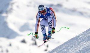 Thomas Dressen de Alemania compite durante la Copa Mundial de Esquí Alpino masculino de la FIS en el Zwoelferkogel de Saalbach-Hinterglemm, Austria.