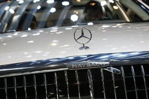 Un modelo Mercedes, expuesto en el Salón del Automóvil de Pekín.