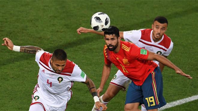Diego Costa en una acción del España-Marruecos del Mundial de Rusia 2018