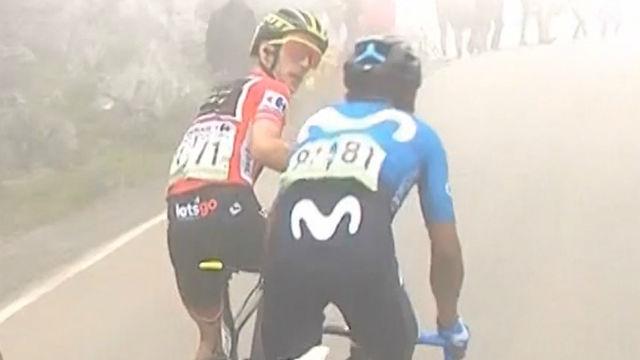 El espectacular enfado de Yates con Nairo Quintana en la vuelta. ¡Se vuelve loco!