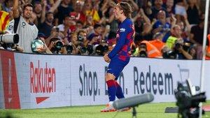 Griezmann celebrando uno de sus goles en el Camp Nou