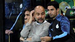 Guardiola y Arteta, durante un partido