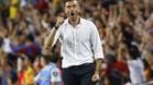 Luis Enrique, celebrando el gol de Messi
