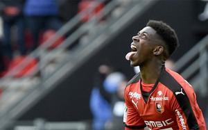 Ousmane Dembéle, jugador del Rennes, después de marcar un hat trick al Nantes