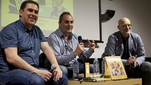 Piti Hurtado, Alfred Julbe y Antonio Pacheco, este lunes en Barcelona