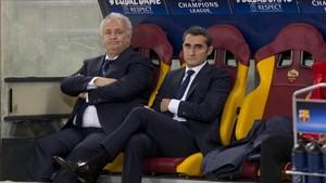 Valverde, en el banquillo del Olímpico de Roma