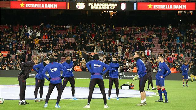 Así entrenó el Barça en el calentamiento ante el Granada