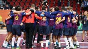 El FC Barcelona celebra otro título de campeón del mundo
