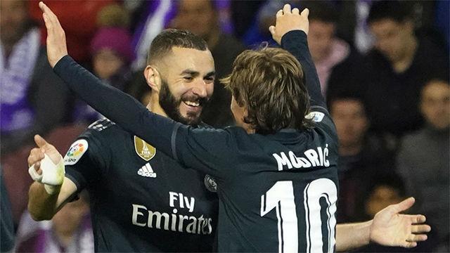 Benzema sentenció al Valladolid con un bonito gol de cabeza