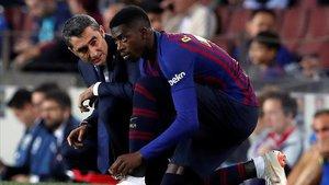Dembélé sustituyó al lesionado Messi