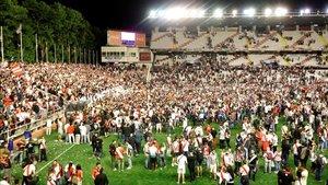 El Estadio de Vallecas cuando se confirmó el ascenso del Rayo a Primera