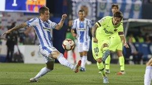 Leo Messi durante el Leganés-Barça de LaLiga 2018/19