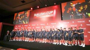 La plantilla del FC Barcelona en la presentación de la Rakuten Cup dentro de su Gira por Japón