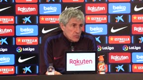Setién no descarta utilizar a Messi y Griezmann como falso 9