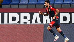 Tony Sanabria celebra uno de los goles marcados al Hellas Verona