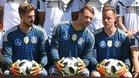 Trapp, Neuer y Ter Stegen en un acto promocional en la previa del Mundial de Rusia 2018