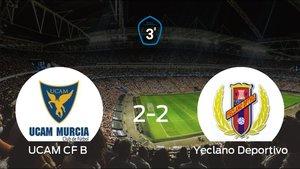 El UCAM B no pudo conseguir la victoria frente al Yeclano Deportivo (2-2)
