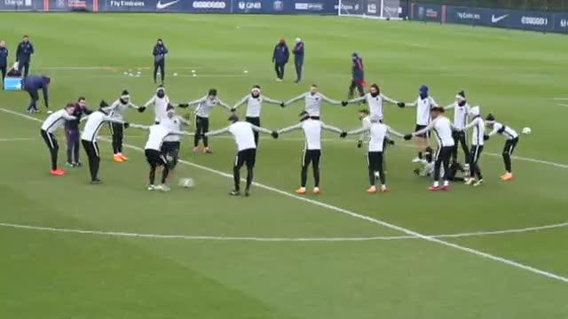 El último entrenamiento del PSG antes de viajar a Madrid