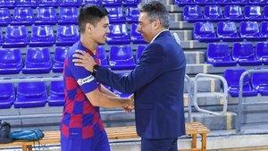 Alber Soler, junto al nuevo jugador azulgrana Daniel Shiraishi