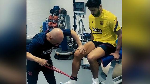 Así se recupera Luis Suárez de su lesión de menisco