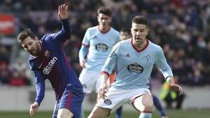 Fontàs y Messi, en una imagen del último FC Barcelona - RC Celta (2-2) de LaLiga Santander celebrado en el Camp Nou