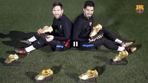 Leo Messi y Luis Suárez posan con las seis Botas de Oro conquistadas
