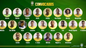 La lista de convocados de BRasil frente a Arabia Saudita y Argentina