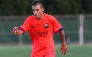 Maxi Rolón en el amistoso que el Barça B jugó en LEscala