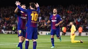 Messi celebra su segundo gol ante el Leganés