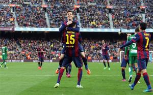 Messi marcó tres goles en el último partido del Barça contra el Levante