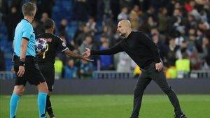 Pep Guardiola acabó muy contento con el juego desplegado por sus futbolistas