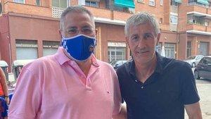Setién, junto a Toni Cáceres, delegado del Sabadell