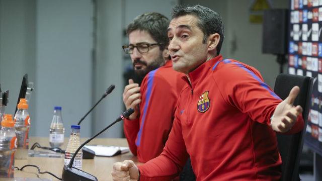 Valverde en la rueda prensa previa al partido en Anoeta