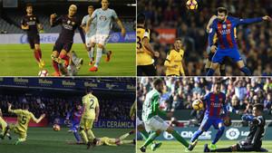 Imágenes del Celta-Barça, del Barça-Málaga, del Villarreal-Barça y del Betis-Barça de la Liga 2016/17