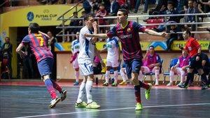 Aicardo y Dyego, en la final que ganó el Barça en Baku en 2014