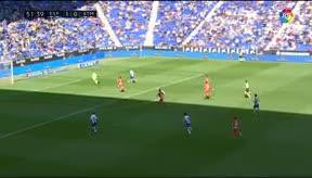 Borja Iglesias brilló ante el Atlético con un doblete
