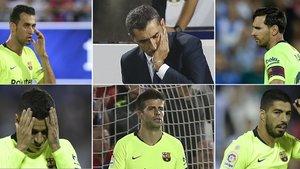 Busquets, Valverde, Messi, Coutinho, Piqué y Luis Suárez durante el Leganés-Barça de la Liga 2018/19