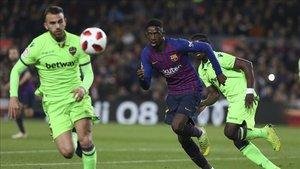 Dembélé fue el gran protagonista con dos goles ante el Levante