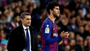 Ernesto Valverde y Carles Aleñá en el Barça-Celta