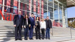 Imagen de la firma del acto entre Barça y TNC