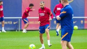 Jordi Alba, en el entrenamiento