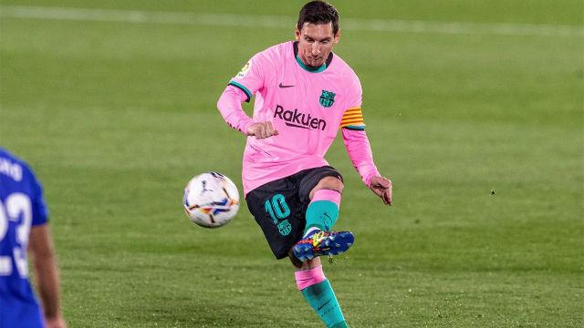 Messi estrelló el balón en el palo en la primera parte ante el Getafe