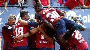 Osasuna celebra el segundo gol ante el FC Barcelona