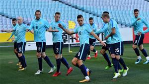 La selección australiana, durante su último entrenamiento en Sydney