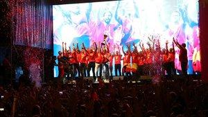 La selección celebró con los aficionados su título mundial