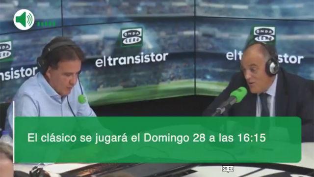 Tebas anuncia el horario de El Clásico en el Camp Nou