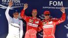 Vettel, flanqueado por Bottas y Raikkonen